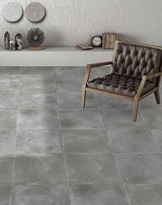carrelage sol et mur imitation béton gris sablé