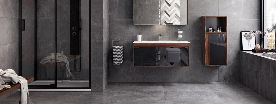 carrelage sol et mur salle de bain effet béton