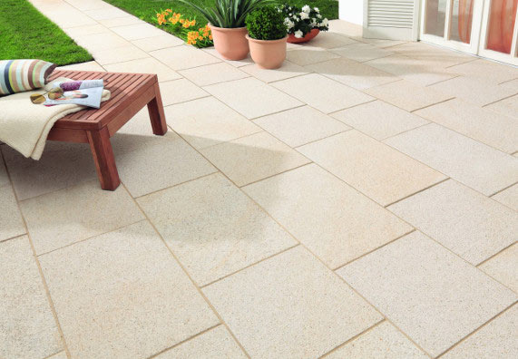 Carrelage sol extérieur beige effet pierre