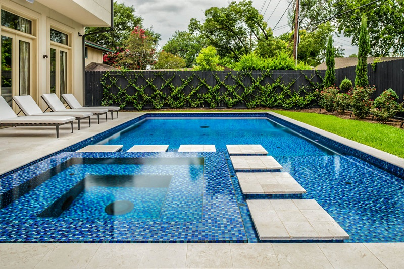 carrelage de piscine bleu