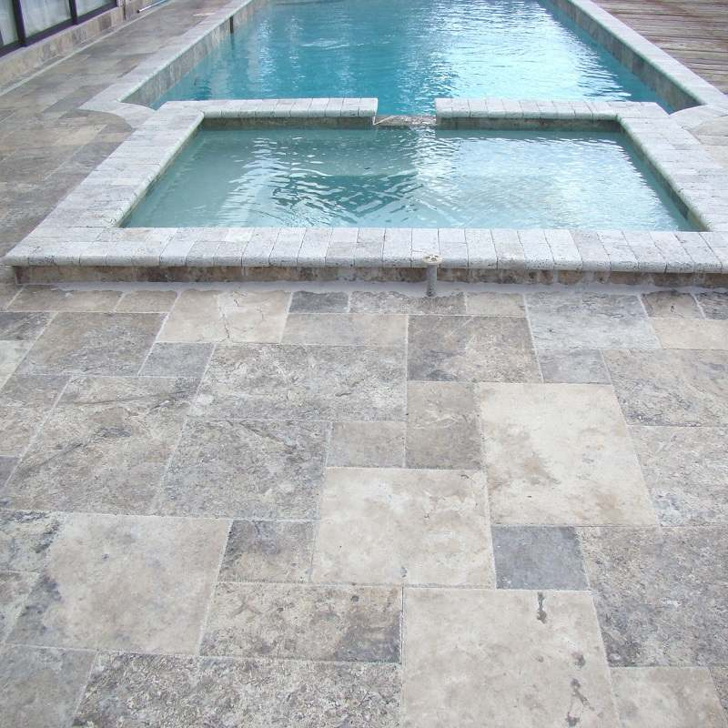 Travertin Gris silver autour piscine
